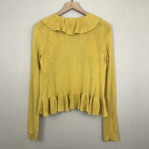 Fossil Sweaters - Fossil | Marigold Yellow Ruffled Cardigan (sz S)